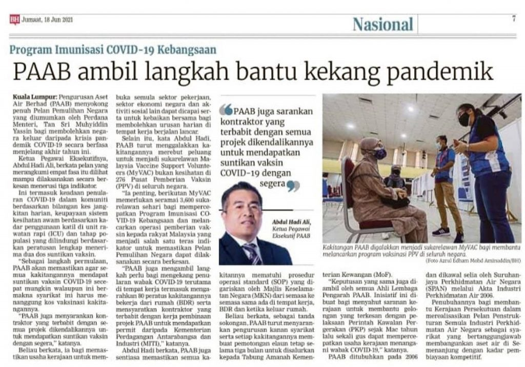Berita Harian - PAAB ambil langkah bantu kekang pandemik1
