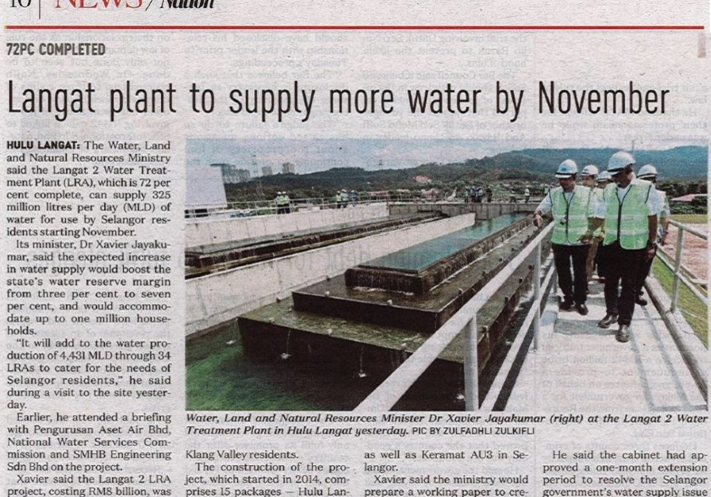 Langat plant to supply more water by November