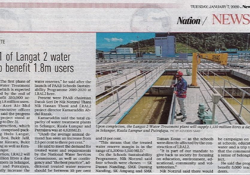 Phase 1 of Langat 2 water plant to benifit 1.8m users - 1